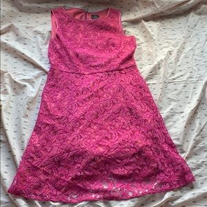 Adrianna Papell Pink Lace Overlay Midi Dress 14